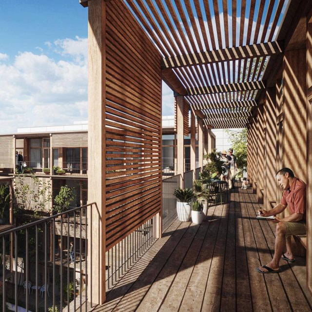 Co-Living Madrid, view on the wide gallery. A warm residential building with over 90 co-living housing units around a green inner courtyard. . . @keizer_koopmans #coliving #colivingspace #madridarchitecture #woodarchitecture #residentialarchitecture #architecture #wood