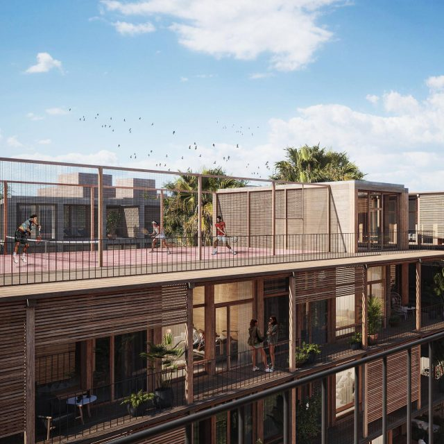 Co-Living Madrid, view on the wide gallery. A warm residential building with shared functions like a padel court on the rooftop! . . @keizer_koopmans #coliving #colivingspace #madridarchitecture #woodarchitecture #residentialarchitecture #architecture #wood