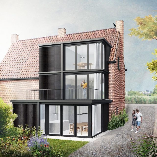 House Akerdijk. Our design for the refurbishment and extension of a house along a dyke recently received the building permit! The original layout of the semi-detached house is restored and enlarged with a contrasting black volume. Visualization by Douwe Strating. . . @keizer_koopmans #houseextension #blackwood #architecture