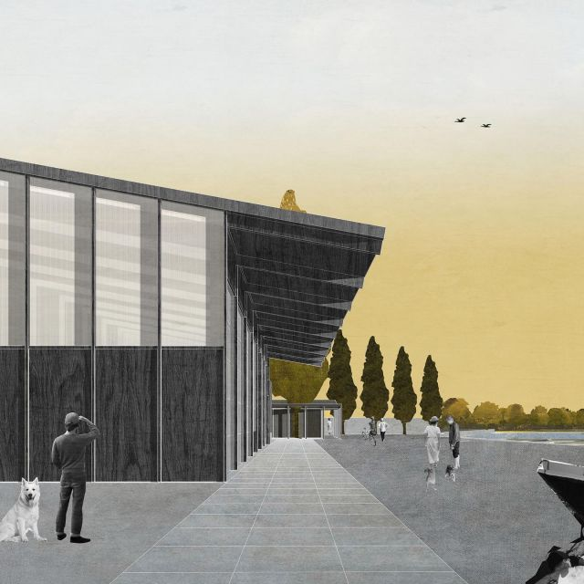Capie's Oort. Connection of the functions.  A central axis connects the entrance plaza with the three functions: a clear paved path which passes in front of overhead doors of the new hangar. The path ends right at the beautiful tall tree in the pavilion. . . @keizer_koopmans #architecture