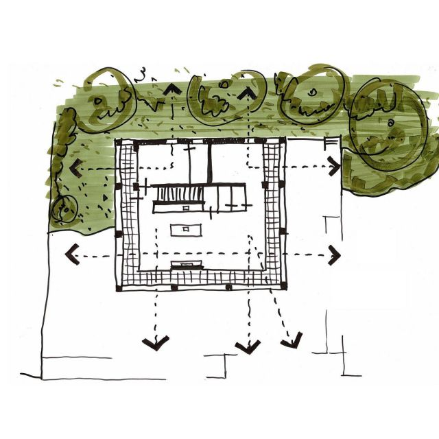 Casa Tamariu: concept sketches. The villa is composed of a simple square of 11 by 11 meters and two residential floors. A cantilever around the top floor provides shelter from the burning sun. This floor functions as an all-sided living space: floor-to-ceiling sliding doors all around allow for views on the surrounding landscape. The large horizontal openings in the cantilever frame the landscape like a composed panorama. The cantilever makes vertical sun protection superfluous, guaranteeing generous views and daylight entry.  @keizer_koopmans