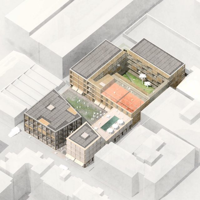 Co-Living Madrid, isometric overview of the project. Due to the industrial setting all buildings have an inward orientation around the public square and inner courtyard. The buildings form a semi-public enclave in the city. The project is now online on our website! . . @keizer_koopmans #architecture #residentialarchitecture #housing #coliving #colivingspace #woodarchitecture