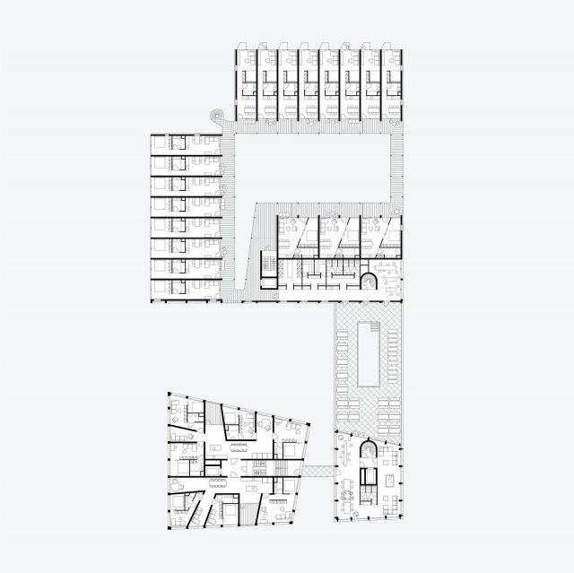 Co-Living Madrid, second floor. A small bridge and an internal connection give residents acces to the communal areas and the roof terrace. . . @keizer_koopmans #architecture #residentialarchitecture #housing #coliving #colivingspace