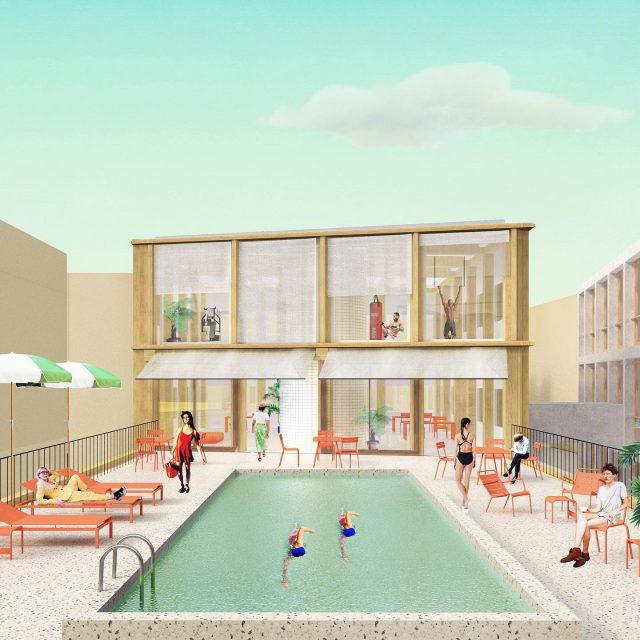 Co-Living Madrid, impression of the shared roof terrace. The terrace has an adjacent multiroom for social gatherings and a gym overviewing the surroundings. Around the pool is plenty of space for a nice bbq! Who spots the architecture references🤓... . . . Image by Douwe Strating @nularchitecten @keizer_koopmans #architecture #coliving #colivingspace #sharedspace #residentialarchitecture #roofterrace