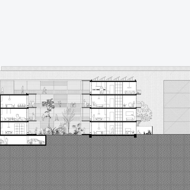 Co-Living Madrid, cross-section. Because the location is surrounded by fairly tall and closed industrial buildings, the plan has an inward-orientated character. The buildings are positioned around two new courtyards forming an enclave in the city. . . @keizer_koopmans #architecture #section #residentialarchitecture